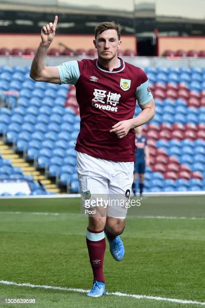 Chris Wood of Burnley celebrates after scoring his team's first goal during the Premier League match between Burnley and Arsenal at Turf Moor on...