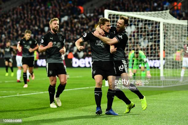 Chris Wood of Burnley celebrates after scoring his team's second goal with Ashley Barnes of Burnley during the Premier League match between West Ham...