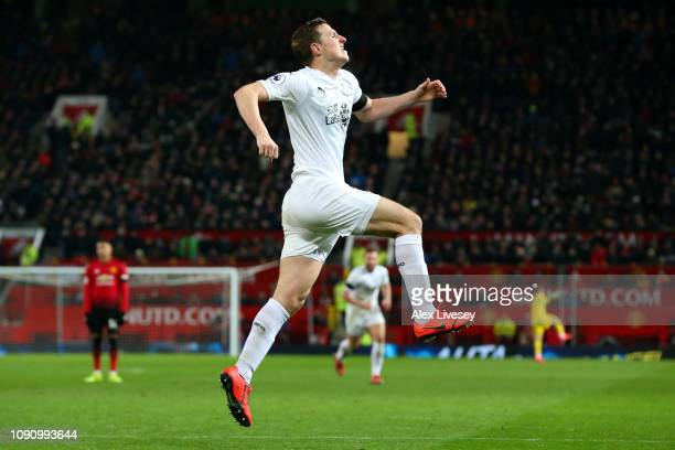 Chris Wood of Burnley celebrates after scoring his team's second goal during the Premier League match between Manchester United and Burnley at Old...