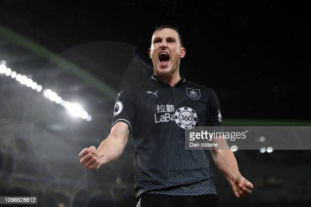 Chris Wood of Burnley celebrates after scoring his team's second goal during the Premier League match between Brighton Hove Albion and Burnley FC at...