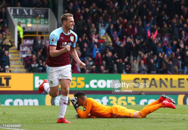 Chris Wood of Burnley celebrates after scoring his team's second goal during the Premier League match between Burnley FC and Cardiff City at Turf...