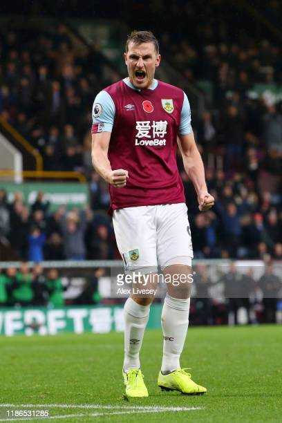 Chris Wood of Burnley celebrates after scoring his team's second goal during the Premier League match between Burnley FC and West Ham United at Turf...