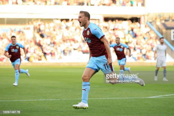 Chris Wood of Burnley celebrates after scoring their 1st goal during the UEFA Europa League Second Qualifying Round 2nd Leg match between Burnley and...