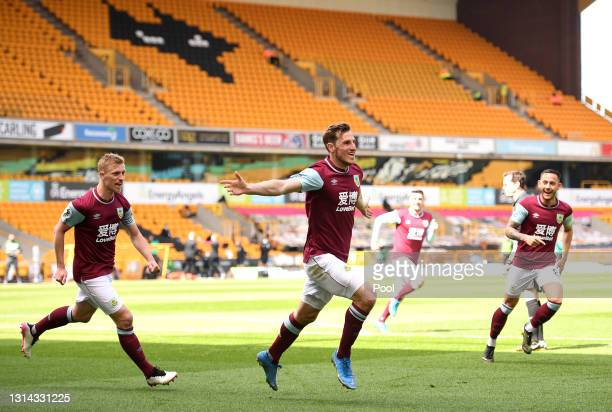 Chris Wood of Burnley celebrates after scoring their side's third goal and his hat trick during the Premier League match between Wolverhampton...