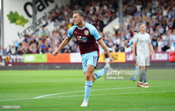 Chris Wood of Burnley celebrates as he scores the first goal during the UEFA Europa League Second Qualifying Round match between Burnley and Aberdeen...