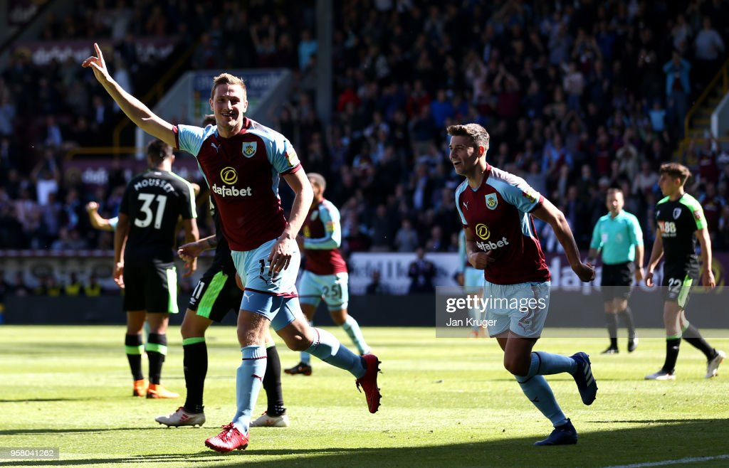 Chris Wood of Burnley celebrates scoring his sides first goal during the Premier League match between Burnley and AFC Bournemouth at Turf Moor on May 13, 2018 in Burnley, England.
