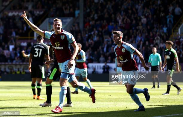 Chris Wood of Burnley celebrates scoring his sides first goal during the Premier League match between Burnley and AFC Bournemouth at Turf Moor on May...