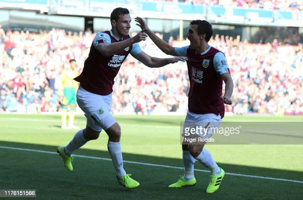 Chris Wood of Burnley celebrates scoring his teams first goal with Jack Cork of Burnley during the Premier League match between Burnley FC and...