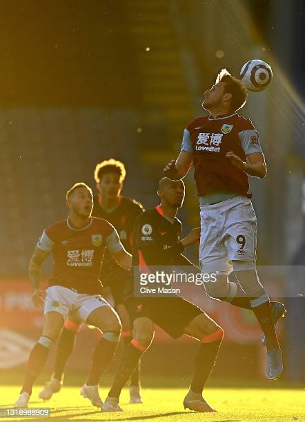 Chris Wood of Burnley in action during the Premier League match between Burnley and Liverpool at Turf Moor on May 19, 2021 in Burnley, England.