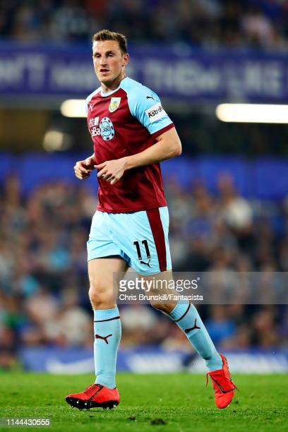 Chris Wood of Burnley in action during the Premier League match between Chelsea FC and Burnley FC at Stamford Bridge on April 22 2019 in London...