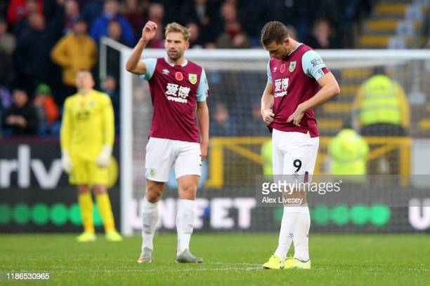 Chris Wood of Burnley looks dejected after his goal is disallowed by VAR during the Premier League match between Burnley FC and West Ham United at...