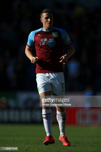 Chris Wood of Burnley looks on during the Premier League match between Burnley and Tottenham Hotspur at Turf Moor on February 23 2019 in Burnley...