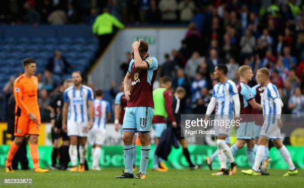 Chris Wood of Burnley reacts after the Premier League match between Burnley and Huddersfield Town at Turf Moor on September 23 2017 in Burnley England