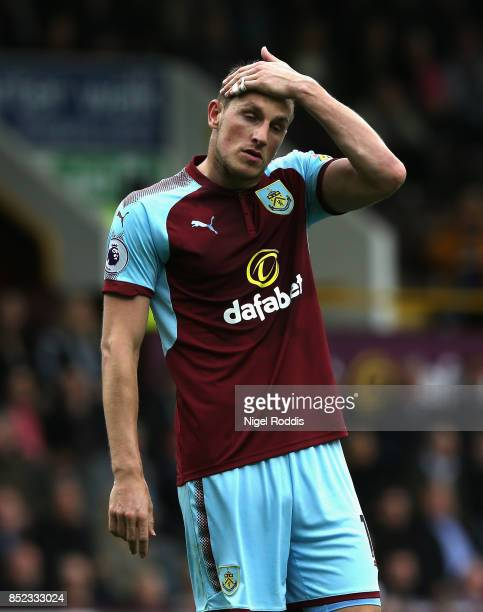 Chris Wood of Burnley reacts during the Premier League match between Burnley and Huddersfield Town at Turf Moor on September 23 2017 in Burnley...