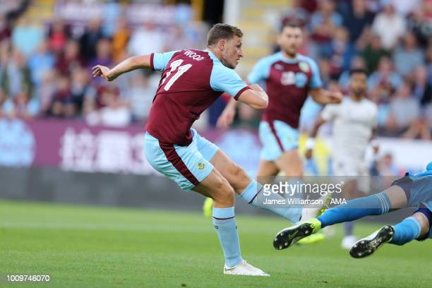 Chris Wood of Burnley scores a goal to make it 10 and 21 on aggregate during the UEFA Europa League Second Qualifying Round 2nd Leg match between...