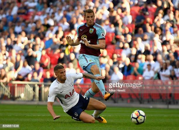 Chris Wood of Burnley scores his sides first goal during the Premier League match between Tottenham Hotspur and Burnley at Wembley Stadium on August...