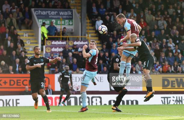 Chris Wood of Burnley scores his sides first goal during the Premier League match between Burnley and West Ham United at Turf Moor on October 14 2017...