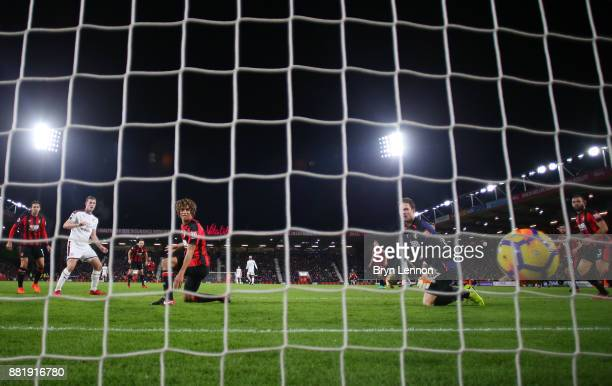 Chris Wood of Burnley scores his sides first goal during the Premier League match between AFC Bournemouth and Burnley at Vitality Stadium on November...