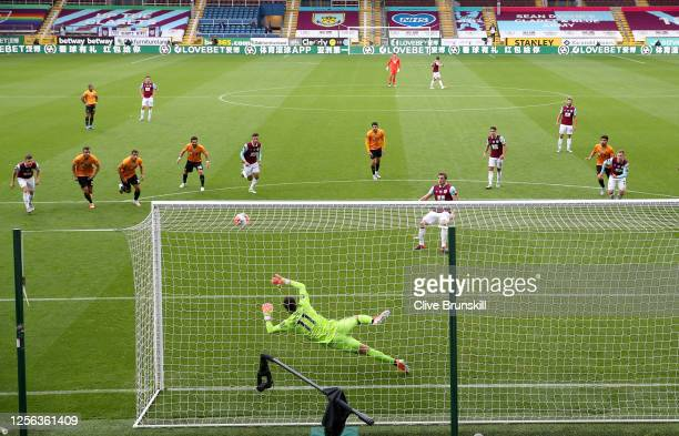 Chris Wood of Burnley scores his sides first goal from the penalty spot during the Premier League match between Burnley FC and Wolverhampton...