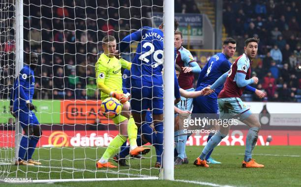 Chris Wood of Burnley scores his sides second goal during the Premier League match between Burnley and Everton at Turf Moor on March 3 2018 in...