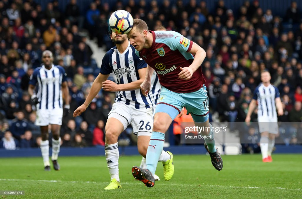 Chris Wood of Burnley scores his sides second goal during the Premier League match between West Bromwich Albion and Burnley at The Hawthorns on March 31, 2018 in West Bromwich, England.