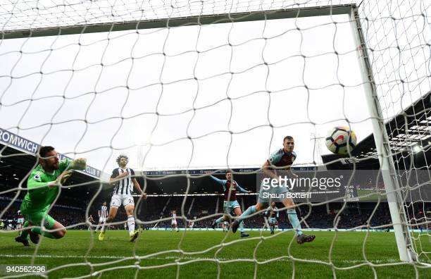 Chris Wood of Burnley scores his sides second goal during the Premier League match between West Bromwich Albion and Burnley at The Hawthorns on March...