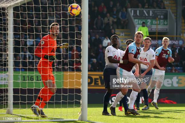 Chris Wood of Burnley scores his team's first goal during the Premier League match between Burnley FC and Tottenham Hotspur at Turf Moor on February...