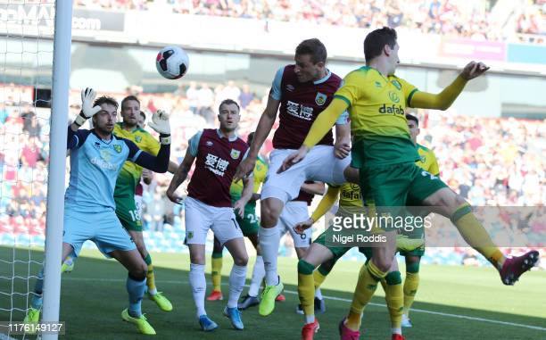 Chris Wood of Burnley scores his teams first goal during the Premier League match between Burnley FC and Norwich City at Turf Moor on September 21,...
