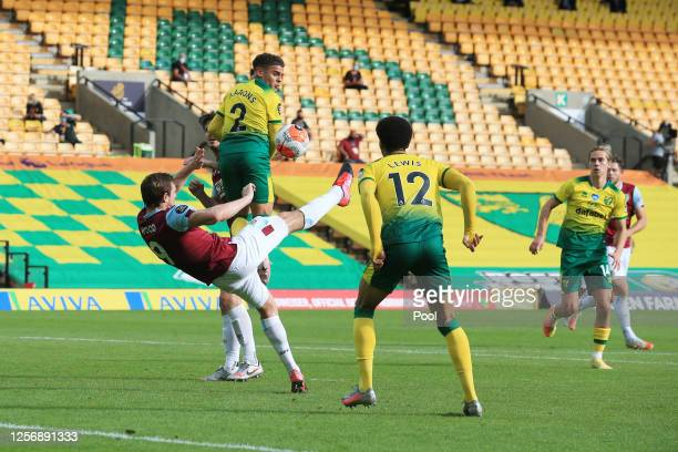 Chris Wood of Burnley scores his team's first goal during the Premier League match between Norwich City and Burnley FC at Carrow Road on July 18,...