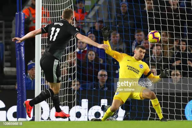 Chris Wood of Burnley scores his team's first goal past Mathew Ryan of Brighton and Hove Albion during the Premier League match between Brighton Hove...