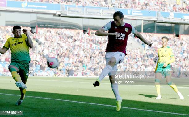 Chris Wood of Burnley scores his teams second goal during the Premier League match between Burnley FC and Norwich City at Turf Moor on September 21,...