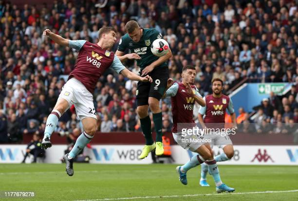 Chris Wood of Burnley scores his team's second goal during the Premier League match between Aston Villa and Burnley FC at Villa Park on September 28...