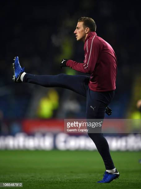 Chris Wood of Burnley warms up prior to the Premier League match between Burnley FC and Newcastle United at Turf Moor on November 26 2018 in Burnley...