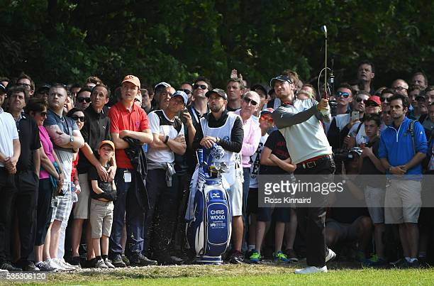 Chris Wood of England hits his 2nd shot on the 16th hole during day four of the BMW PGA Championship at Wentworth on May 29, 2016 in Virginia Water,...