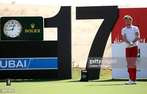 Chris Wood of England hits his teeshot on the 17th hole during the first round of the Dubai World Championship on the Earth Course Jumeirah Golf...
