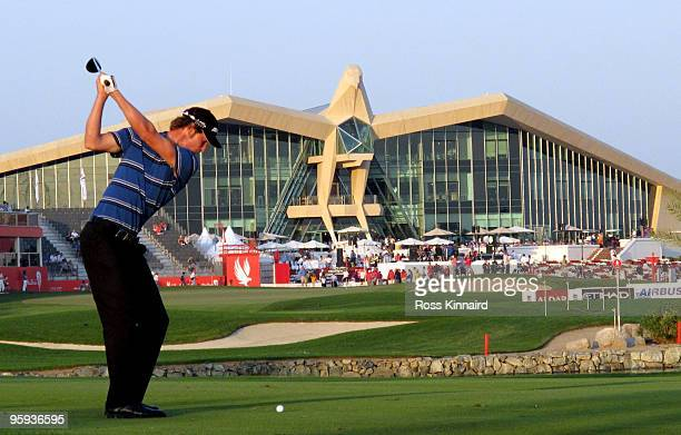Chris Wood of England on the par five 18th hole during the second round of the Abu Dhabi Golf Championship at the Abu Dhabi Golf Club on January 22...