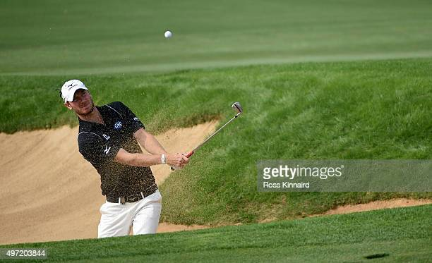 Chris Wood of England on the par three 4th hole during the final round of the BMW Masters at Lake Malaren Golf Club on November 15 2015 in Shanghai...