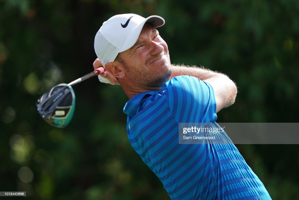 Chris Wood of England plays a shot during a practice round prior to the 2018 PGA Championship at Bellerive Country Club on August 8, 2018 in St Louis, Missouri.