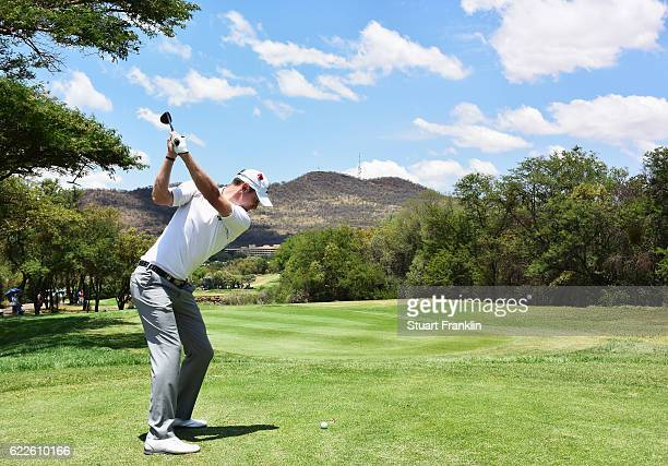 Chris Wood of England plays a shot during the third round of The Nedbank Golf Challenge at Gary Player CC on November 12, 2016 in Sun City, South...