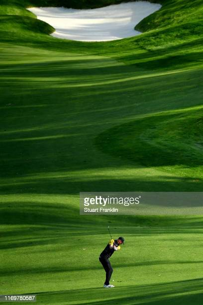 Chris Wood of England plays a shot on the 17th hole during Day Two of the Scandinavian Invitation at The Hills and Sports Club on August 23, 2019 in...