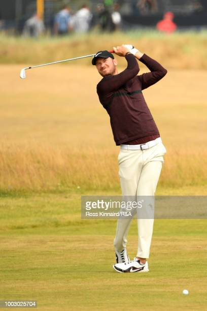 Chris Wood of England plays a shot on the 17th hole during the third round of the Open Championship at Carnoustie Golf Club on July 21 2018 in...