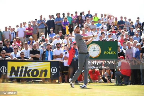 Chris Wood of England plays a tee shot during round one of the 147th Open Championship at Carnoustie Golf Club on July 19 2018 in Carnoustie Scotland