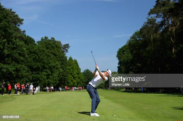 Chris Wood of England plays his second shot on the 10th hole during the first round of the Belgian Knockout at the Rinkven International Golf Club on...