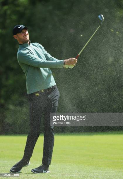 Chris Wood of England plays his second shot on the 8th hole during the second round of the Belgian Knockout at at the Rinkven International Golf...