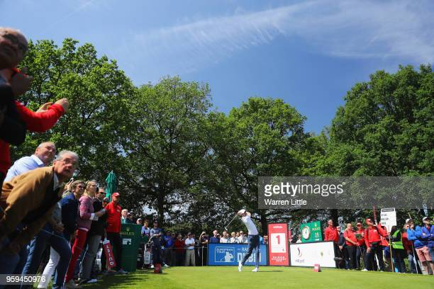 Chris Wood of England plays his shot off the 1st tee during the first round of the Belgian Knockout at the Rinkven International Golf Club on May 17,...