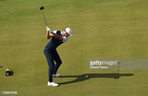Chris Wood of England plays his tee shot to the 1st hole during Day Two of the Dutch Open at Bernardus Golf on September 17, 2021 in Cromvoirt,...