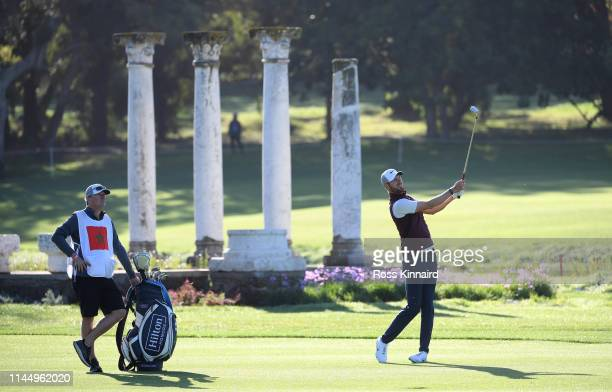 Chris Wood of England plays his third shot into the 11th hole during the first round of the Trophee Hassan II at Royal Golf Dar Es Salam on April 25,...
