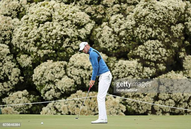 Chris Wood of England putts during day two of the World Cup of Golf at Kingston Heath Golf Club on November 25 2016 in Melbourne Australia