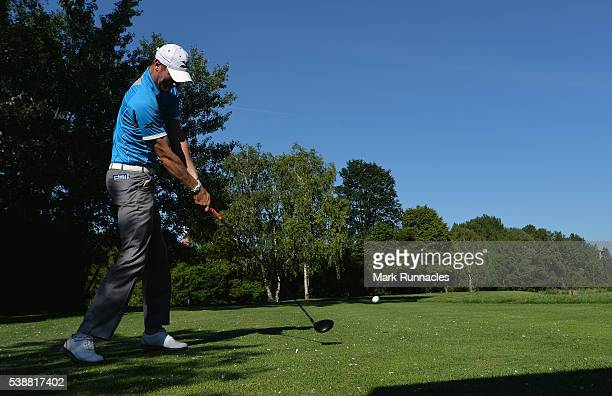 Chris Wood of England tees of on the fourth hole during the first round on day one of the Lyoness Open at Diamond Country Club on June 8 2016 in...