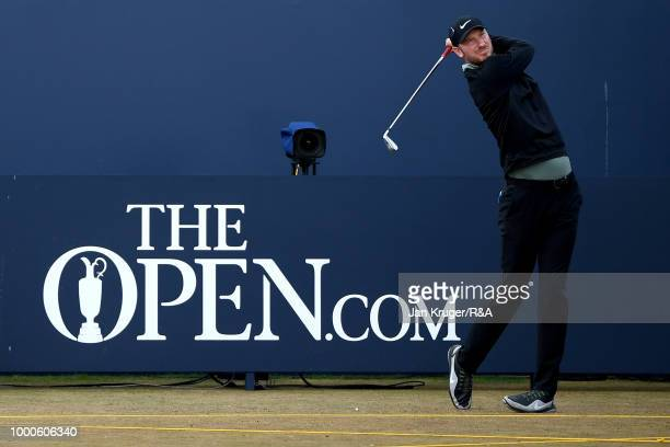 Chris Wood of England tees off at the 1st hole during previews to the 147th Open Championship at Carnoustie Golf Club on July 17 2018 in Carnoustie...